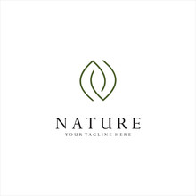 Monogram Letter N Leaf Logo Nature Logos Stock Illustration . Simple Letter N Organic Logo Design Natural