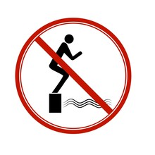 No Jumping. Dangerous Dive. Si...