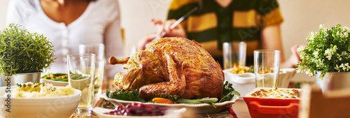 panorama of thanksgiving dinner with turkey Canvas Print
