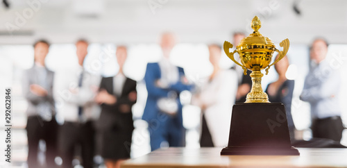 Canvas Print Group of Asian Business people celebrate for trophy, reward, winner, champion an