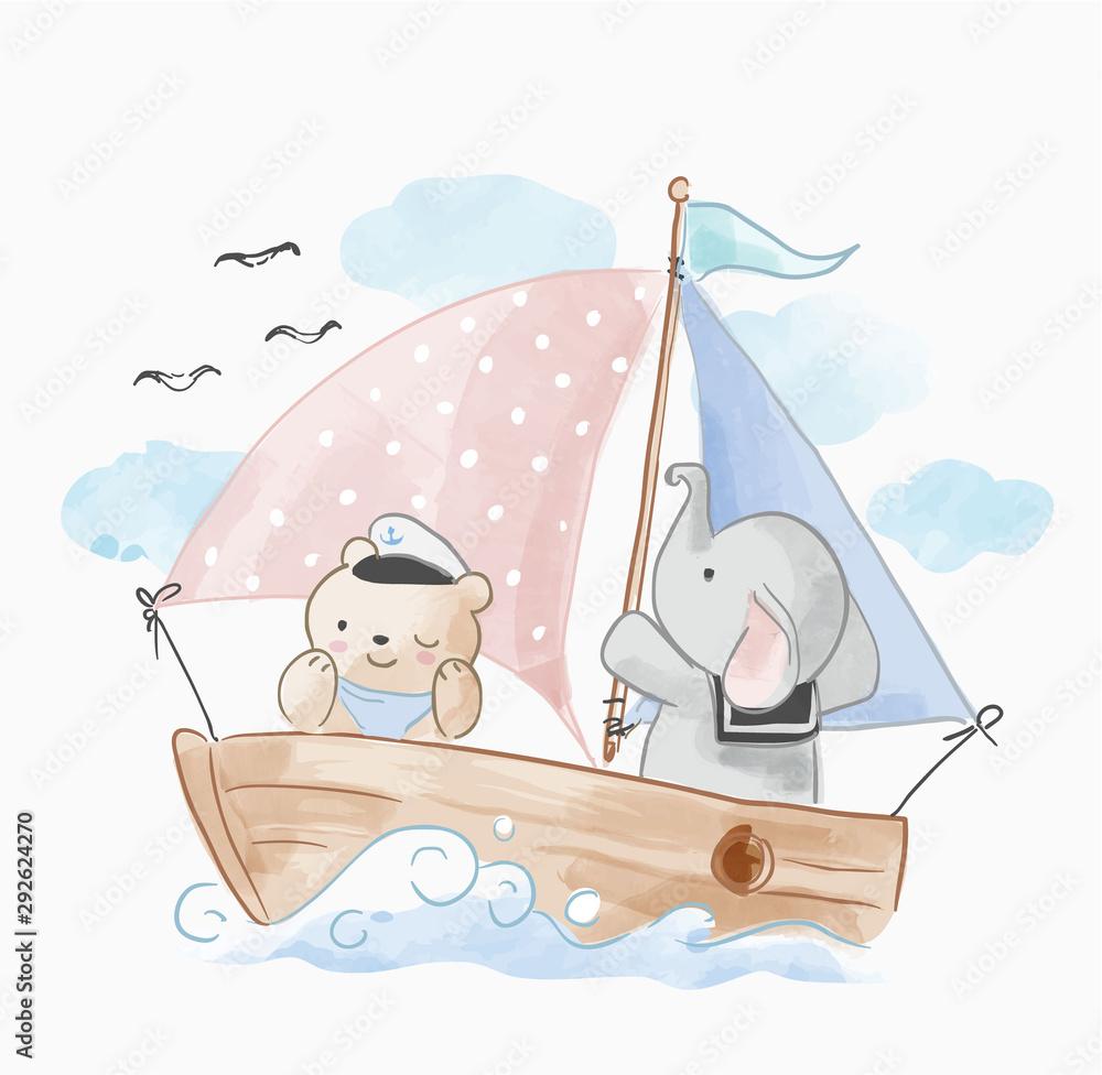 cute animals friend sailing on the boat <span>plik: #292624270 | autor: mykrit</span>