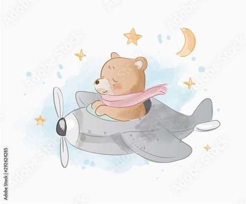 Tela cute cartoon bear on air plain illustration