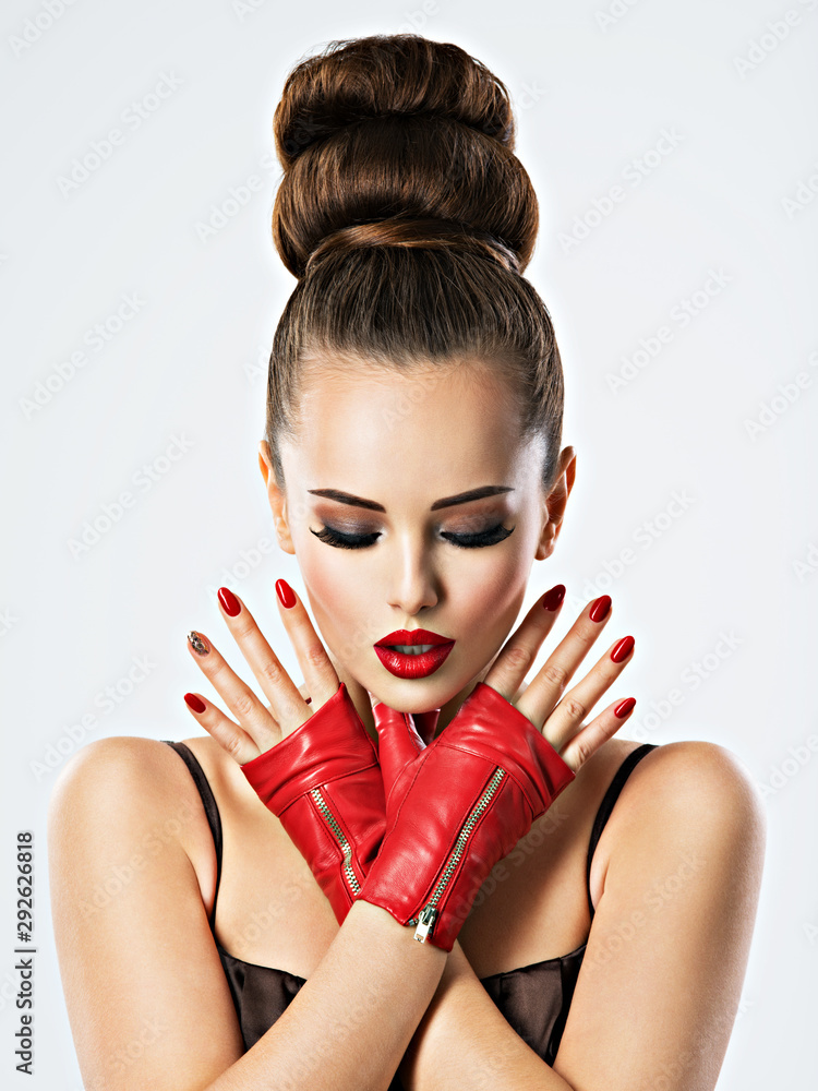 Fototapeta Beautiful sensual woman with red nails