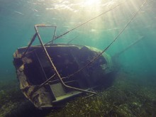 Underwater Shot Of A Wrecked R...