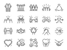 Friendship Line Icon Set. Incl...