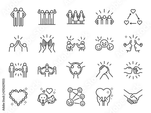 Friendship line icon set. Included icons as friend, relationship, buddy, greeting, love, care and more. - 292629033