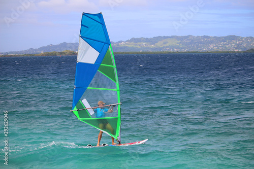Cadres-photo bureau Fleur Windsurfing in the turquoise Caribbean water in the bay of Fort-de-France (Trois Ilets, Martinique)