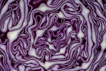 Background Of The Blue Cabbage In The Cut. Close Up, Top View. Texture Raw Purple Cabbage