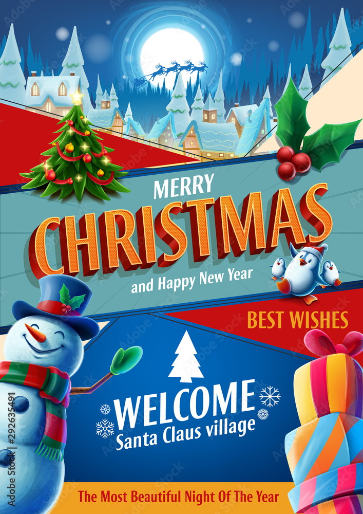 Fototapeta merry christmas card promo