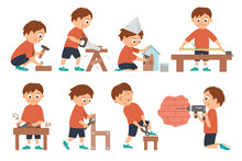 Vector Set Of Boys Doing Carpenter, Building Or Wood Work. Flat Funny Kid Character Sawing, Nailing Up, Measuring, Drilling A Wall, Screwing, Working With Plane, Painting A Nestling Box.