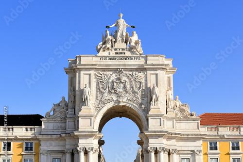 Cuadros en Lienzo close up view to the Beautiful ceiling of the Triumphal Arch (Arco da Rua August