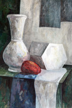 Old Picture Of The Artist. Still Life Painted With Art Paints.