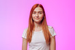canvas print picture - Red-haired girl on a pink background