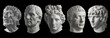 canvas print picture - Five gypsum copy of ancient statue heads isolated on a black background. Plaster sculpture mans faces.