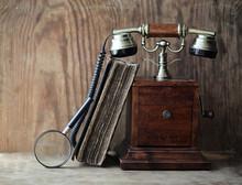Old Telephone And Retro Book O...