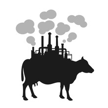 Cow With Factory On The Back A...