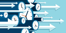 Time Forward. Fast Decision. 3d Clock Icons In Flat Style, Right Arrows, Timers On Blue Background. Time Management. More Watch And Pointers. Business Vector Illustration For You Presentation