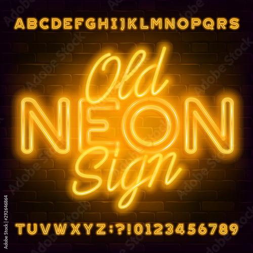 Old Neon Sign alphabet font Canvas-taulu