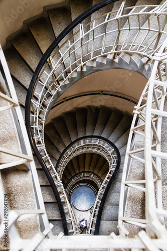 Fototapety, obrazy: Bulb shaped cubism style stairs in the House of the Black Madonna which is a cubist building in the Old Town area of Prague, Czech Republic. Tribute to Thomas Alva Edison