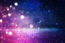 Abstract Glitter Pink, Purple And Blue Lights Background. De-focused