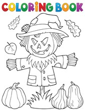 Coloring Book Scarecrow Topic 1