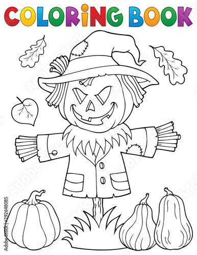 Photo sur Toile Enfants Coloring book scarecrow topic 1