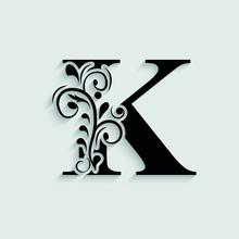 Letter K. Black Flower Alphabet.  Beautiful Capital Letters.