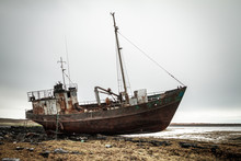 Abandoned Ship On The Coast Of...