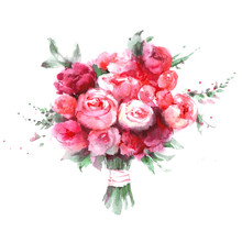 Red And Pink Rose Flower Bouqu...