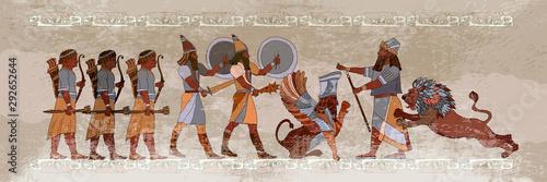 Naklejki historyczne ancient-sumerian-culture-akkadian-empire-mesopotamia-middle-east-history-king-lion-and-warrior-scene-of-fight-old-civilization-art