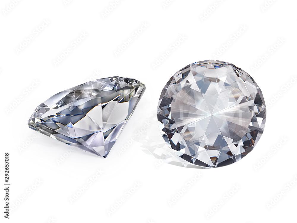 Fototapeta Dazzling diamond on white background