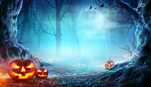 Jack O' Lanterns In Spooky Forest At Moonlight - Halloween