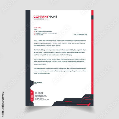 Fototapeta Modern And Clean colorful Letterhead Design Template Business Style Professional Template Design Creative Business Letterhead Design Template for your business obraz