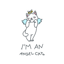 I'm An Angel Cat. Illustration...