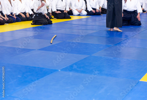 Photo People in kimono and hakama on martial arts training