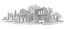 Architectural Sketch Of Individual House. Architectural Drawing. Line Sketch Of House. Vector.