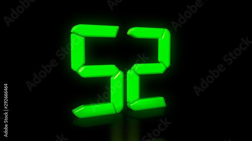 Tela  Green LED 52 on black background with reflection
