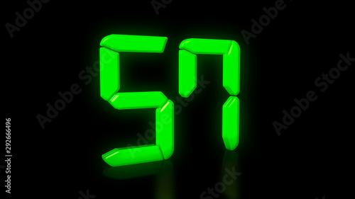Fotografie, Obraz Green LED 57 on black background with reflection