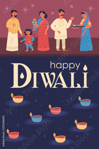 Obraz na plátně  Diwali Hindu festival greeting card design with cute people characters