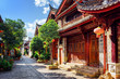 Leinwanddruck Bild - Scenic view of cozy street in the Old Town of Lijiang