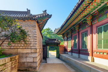 Scenic gate at Changdeokgung Palace in Seoul, South Korea