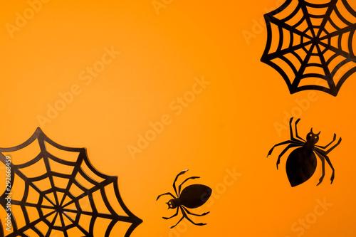 Fotografie, Obraz  Orange halloween background with black spiderweb