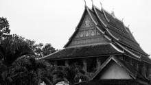 Ho Phra Keo Temple Laos Sacred Holy Architecture Black White