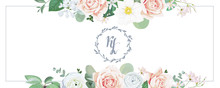 Winter Wedding Invitation With Blush Roses,white Ranunculus