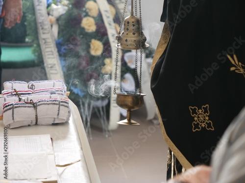 Fotografija  Censer with Smoke at a Funeral Ceremony in Orthodox Church
