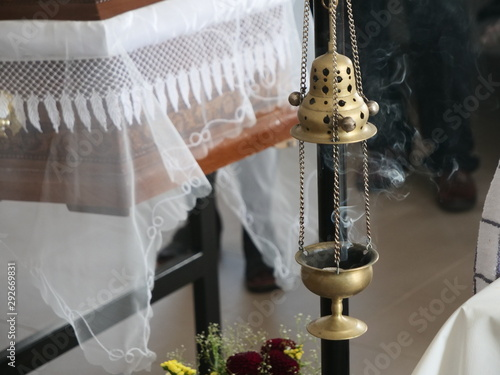 Fényképezés Censer with Smoke at a Funeral Ceremony in Orthodox Church