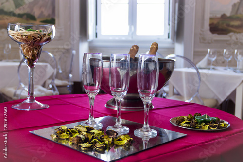 Champagne Glasses on a Decorated Table in a Hotel in Sintra, Portugal