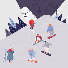 Collection Of People Characters, Men And Women Skiing, Snowboarding, Cross-country Skiers, Skijoring, Jumping, Having Party At Resort. Winter Sport Silhouettes In Different Poses. Vector Illustration
