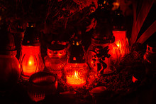 Candles In Elegant Red Glass L...
