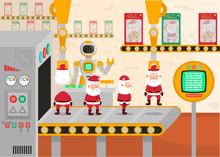 Vector Illustration Of A Christmas Conveyor. Robot Packs Toys Santa Clauses.
